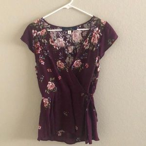 Francesca's Floral Faux Wrap Top